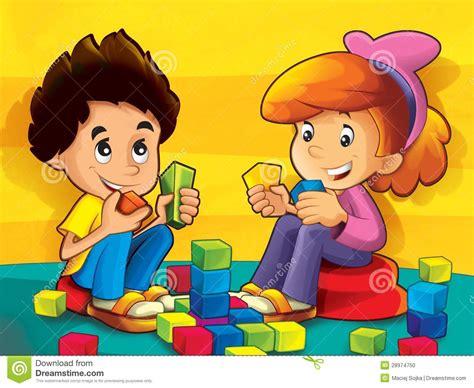 kinder im kindergarten der bloecke spielt stockfoto bild
