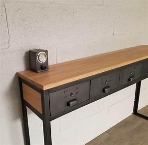 Console Style Industriel : console style industriel 5 tiroirs ref houston5 heure cr ation ~ Teatrodelosmanantiales.com Idées de Décoration