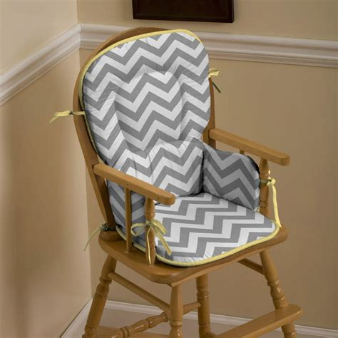Gray And Yellow Zig Zag High Chair Pad  Carousel Designs