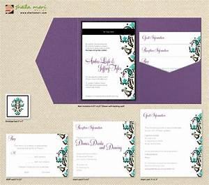 diy custom wedding invitation suite damask design With diy wedding invitations with inserts