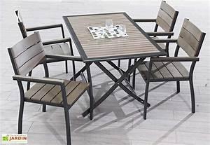 Salon De Jardin Bois Et Metal : salon de jardin en composite aspect bois clair dcb garden ~ Teatrodelosmanantiales.com Idées de Décoration