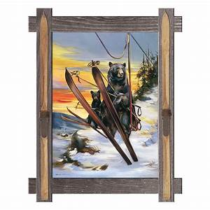 The last run bear ski wall art for Best brand of paint for kitchen cabinets with black bear metal wall art