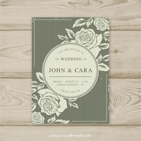 Vintage wedding invitation template with floral style