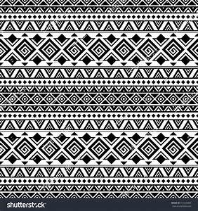Black White Aztec Seamless Pattern Boho Stock Vector ...