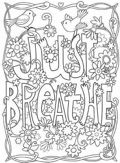 Coloring Pages Motivational Breathe Adult Inspirational Quotes