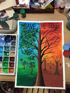 Save The Tree Poster Colour Earth Drawings
