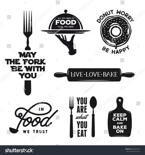 food related typography set quotes about stock vector 468493814