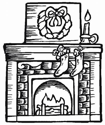 Fireplace Coloring Christmas Pages Adult Adults Sheets