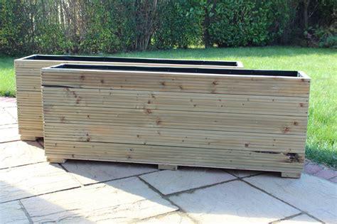 xx cm large treated wooden garden planter trough