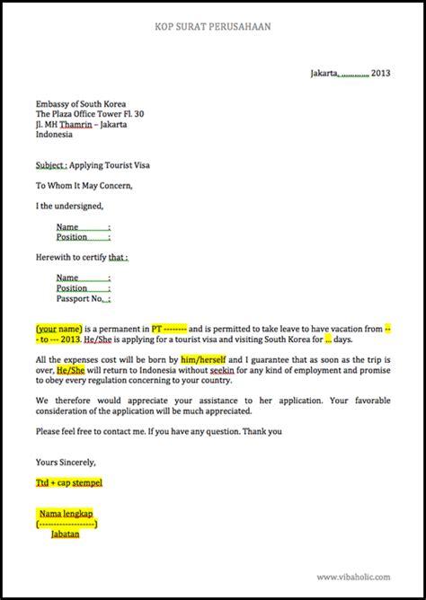 contoh surat keterangan kerja visa amerika lowongan