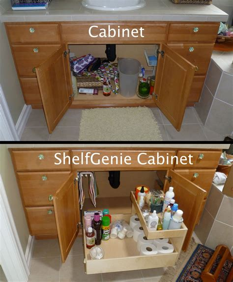 convert kitchen cabinet to pull out the recipe for turning this cabinet into a shelfgenie