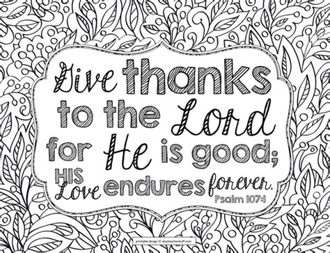 Give Thanks To The Lord Bible Verse Coloring Page Give Thanks To The Lord Bible Verse Coloring Page