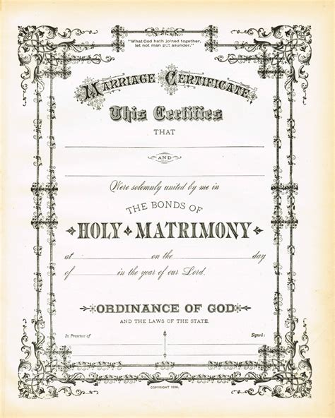 Certificate Of Wiccan Ordination Template Free by Antique Certificate Of Marriage Printable Via Knickoftime Net