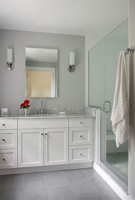 this colorful small gray bathroom makeover can be done in