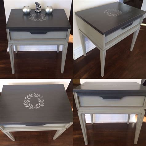 coffee table chalk painted  tone grey  silver