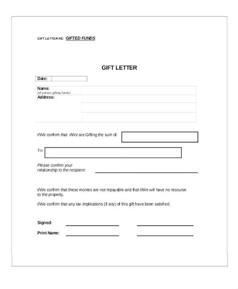 gift letter form gift letter for mortgage citybirds club 6882
