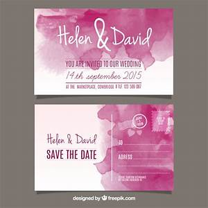 watercolor wedding invitation in post card style vector With wedding invitation design freepik