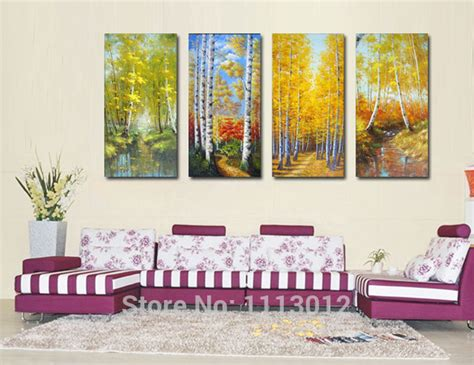 4 Seasons Home Decor : Abstract Four Seasons Mountains Tree Oil Painting Hand