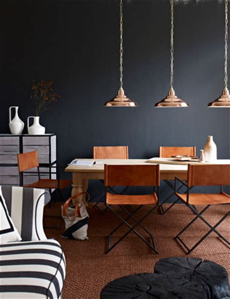 love these copper light fixtures and navy blue walls
