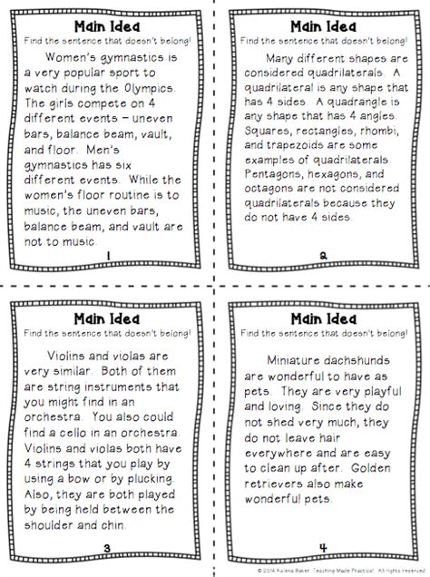 main idea topic sentence  supporting details worksheets