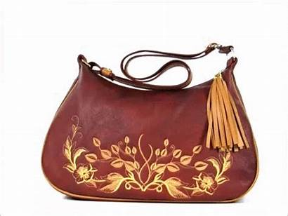 Brown Rust Leather Classic Hobo Embroidered Bag