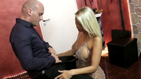 naughty blond haired milf with sexy long legs gives nice blowjob for cum video
