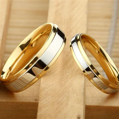 couple ring gold color jewelry for women man titanium steel lover ring stainless steel wedding