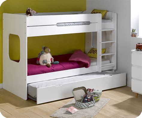 lit superpose pour petit lit superpos 233 spark blanc 90x200 cm avec sommier gigogne blanc