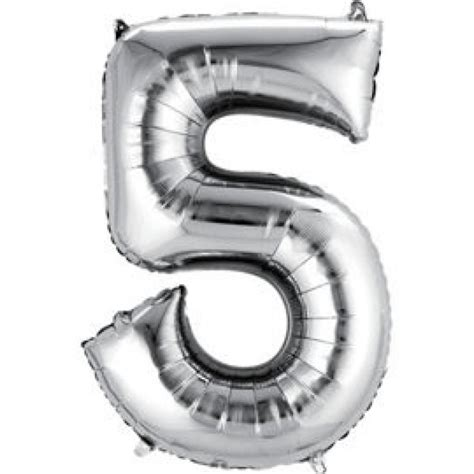silver giant number foil balloons
