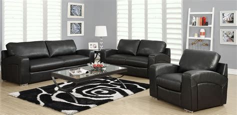 black bonded leather match sloped  living room set
