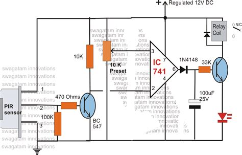 pir motion detector circuit   single transistor