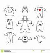 Clothes Newborn Kleding Outline Drawing Vestiti Insieme Linear Voor Kleren Inzameling Leuke Pasgeboren Stijl Reeks Lineaire Kleine Lineare Piccolo Svegli sketch template