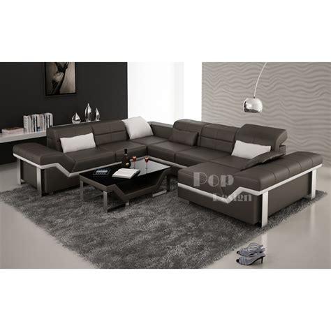 canapé cuir 3 2 1 canapé d 39 angle cuir panoramique design torino xl pop