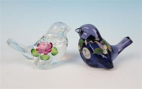 2 Fenton Art Glass Hand Painted Purple & White Opalescent