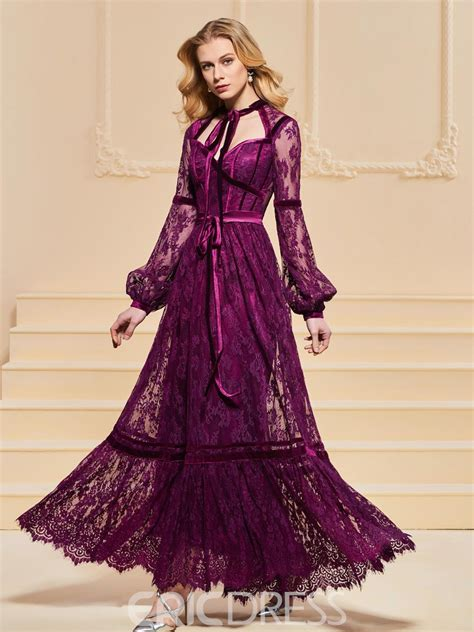 Ericdress A Line Long Sleeve Lace Vintage Prom Dress In ...