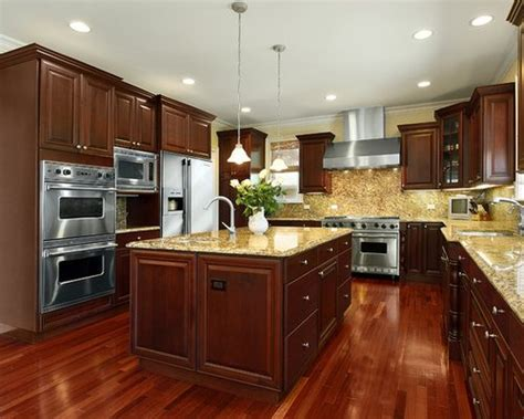 Kitchen Floor Ideas With Cherry Cabinets by Cherry Kitchen Cabinets Houzz