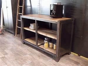 meuble de rangement cuisine bois metal sur mesure With meuble de cuisine industriel