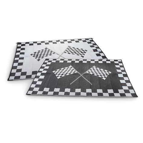 6x9 checkered flag reversible outdoor patio mat 229418