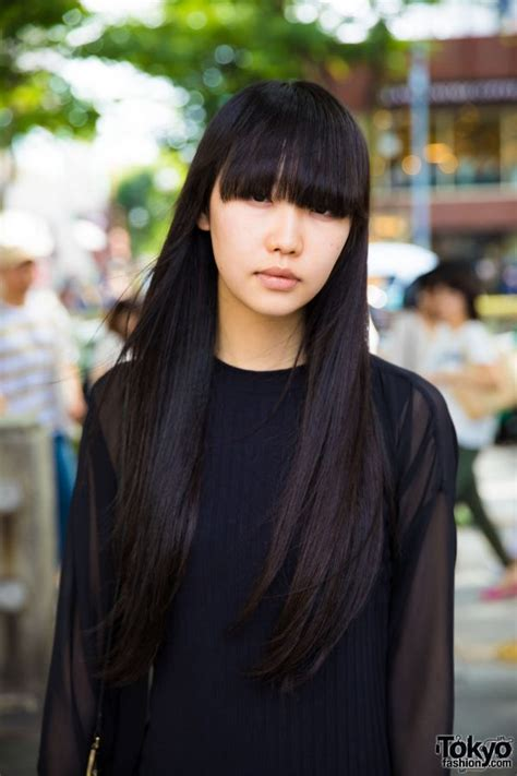 japanese hairstyle for long hair japanese fashion model s all black minimalist fashion
