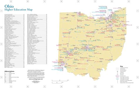ohio colleges  universities map  travel information