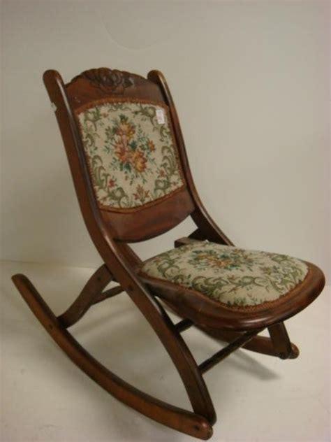 antique folding rocking chair 241 crest tapestry folding rocker lot 241