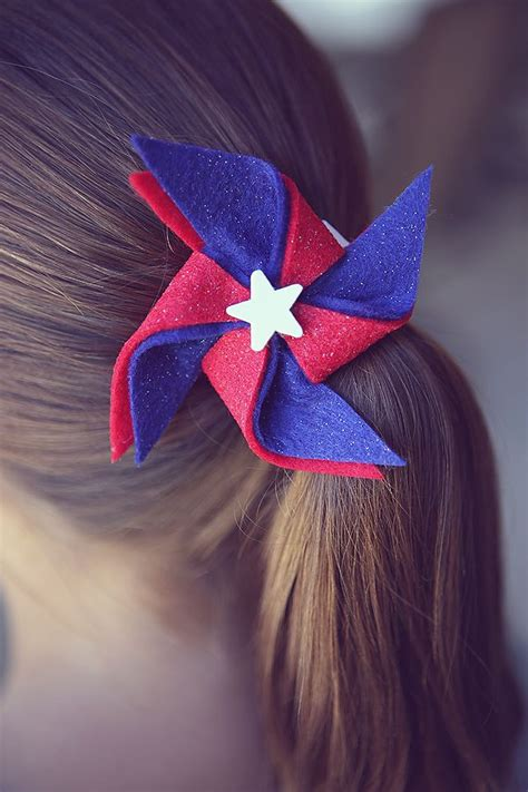 hair style for flower 4th of july pinwheel hairclips and easy 9146