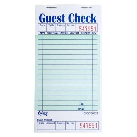 guest receipt form choice 1 part green and white guest