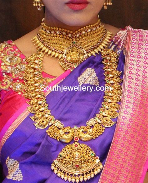antique gold choker and peacock mango mala antique indian jewellery jewelry indian
