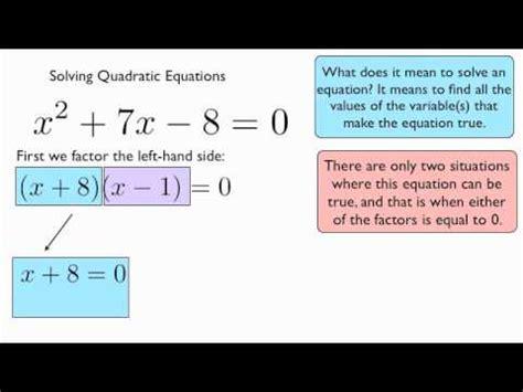 Solving Quadratic Equations  Introduction Youtube