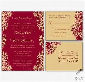 red gold wedding invitations rsvp printed indian With wedding invitation sample maroon