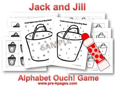 pre k nursery rhymes and pre kpages 183 | jack jill printable alphabet game