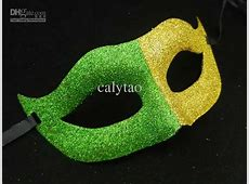 On Sale Brazil Flag Fans Mask Half Face Party Mask Gold