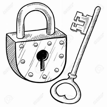 Lock Key Illustration Antique Padlock Vector Clipart