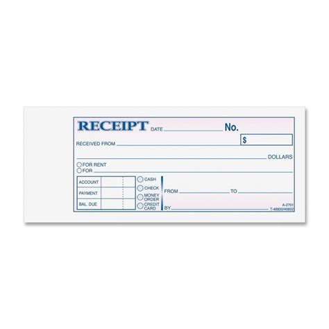 tc2701 tapebound 3 part money receipt book 50 sheet